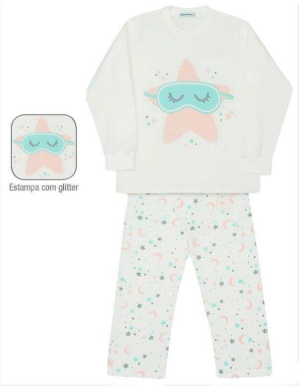 Pijama infantil feminino dedeka moletinho estrelas