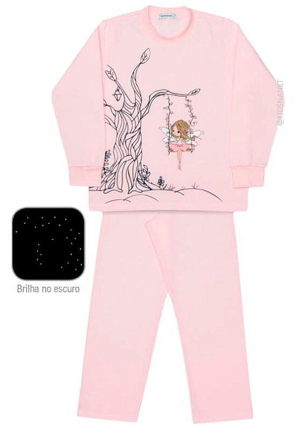 Pijama infantil feminino dedeka moletinho fada brilha escuro