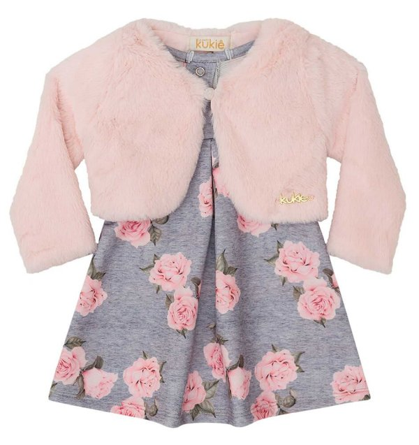Vestido de bebê Kukie vestido rosas e bolero de pelo