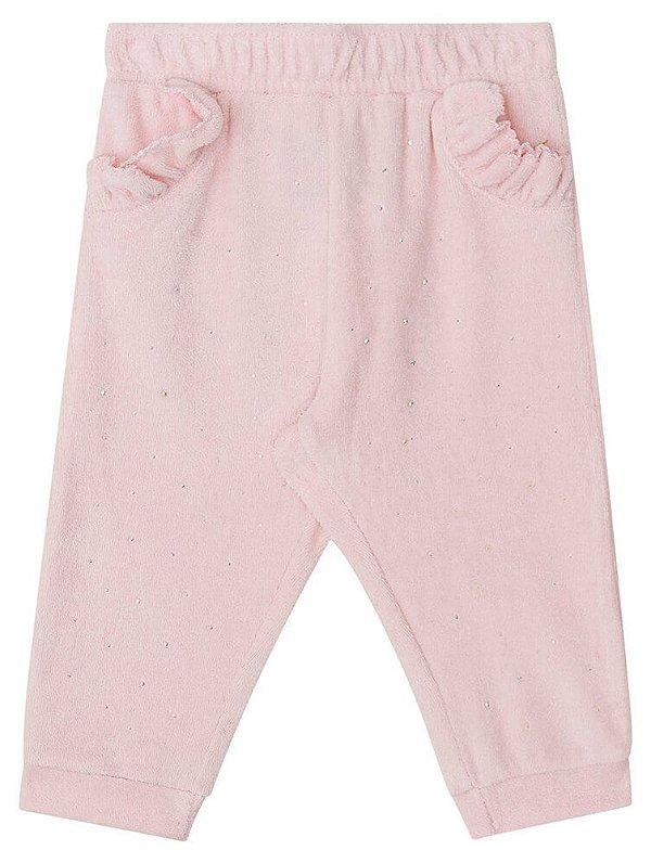 calça de bebê Kukie plush rosa