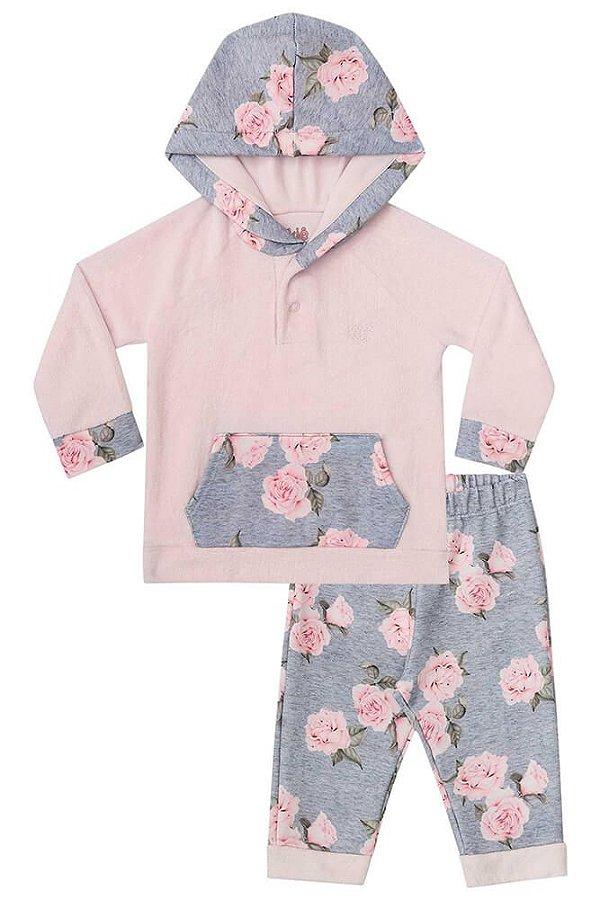 Conjunto de bebê kukie plush e molecotton rosas