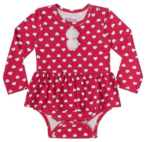 Body de bebê Kukie em cotton Vermelho escuro corações