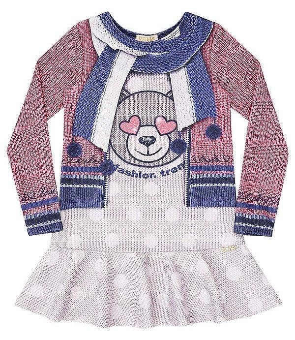 Vestido infantil Kukie em ponto roma urso