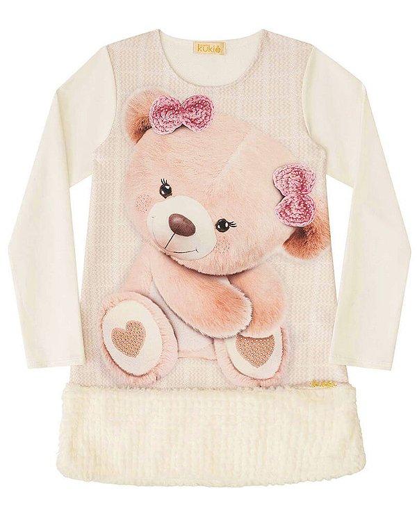 Vestido infantil Kukie off white molecotton e pelo urso