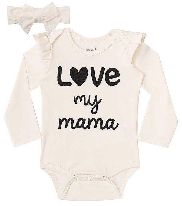 Conjunto de bebê kukie Body com faixa I love my mama