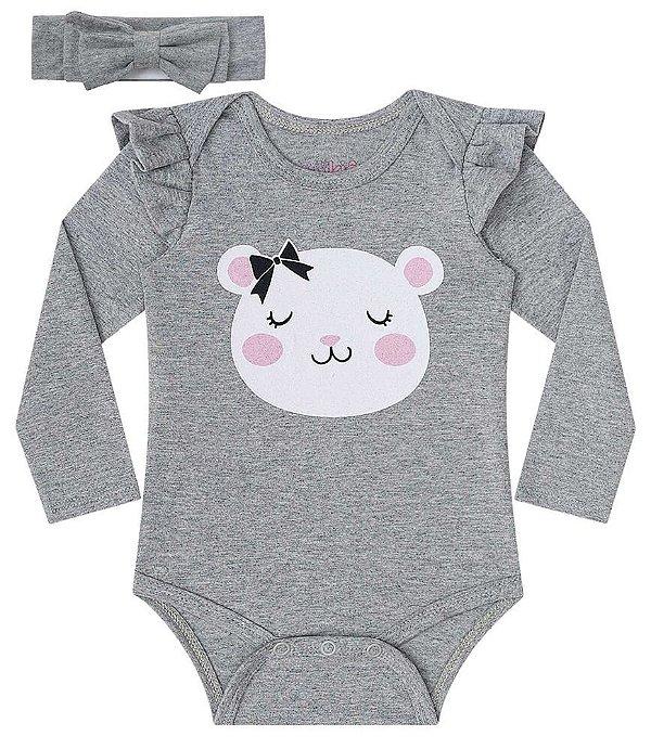 Conjunto de bebê kukie Body com faixa cinza urso