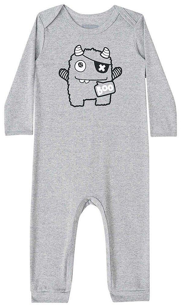 Macacão de bebê Luc.boo suedine monstrinho boo cinza