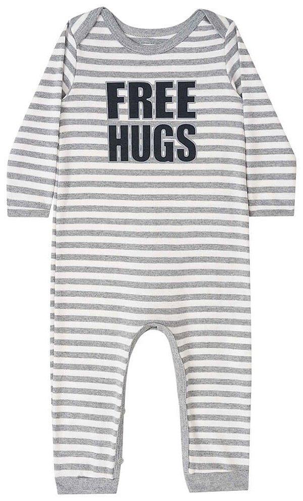 Macacão de bebê Luc.boo suedine listrado free hugs