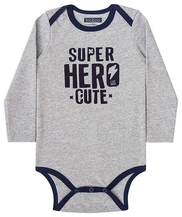 Body bebê Luc.boo suedine cinza super hero cute