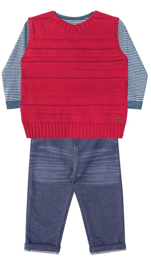 Conjunto de bebê 3 peças Luc.boo camiseta colete tricô calça