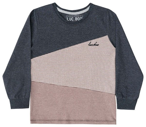 Camiseta manga longa infantil Luc.boo tricolor chumbo marrom