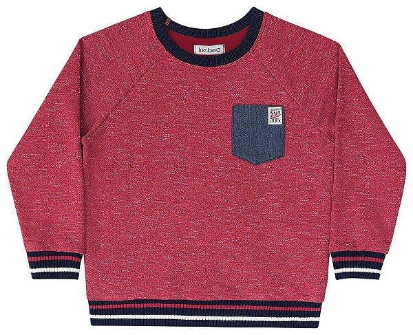 Blusa de frio infantil Luc.boo moletom moline vermelho vinho
