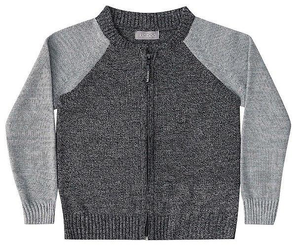 Jaqueta infantil Luc.boo tricô cinza e cinza chumbo
