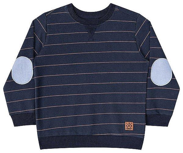 Blusa de frio infantil Luc.boo moletom listrado azul marinho