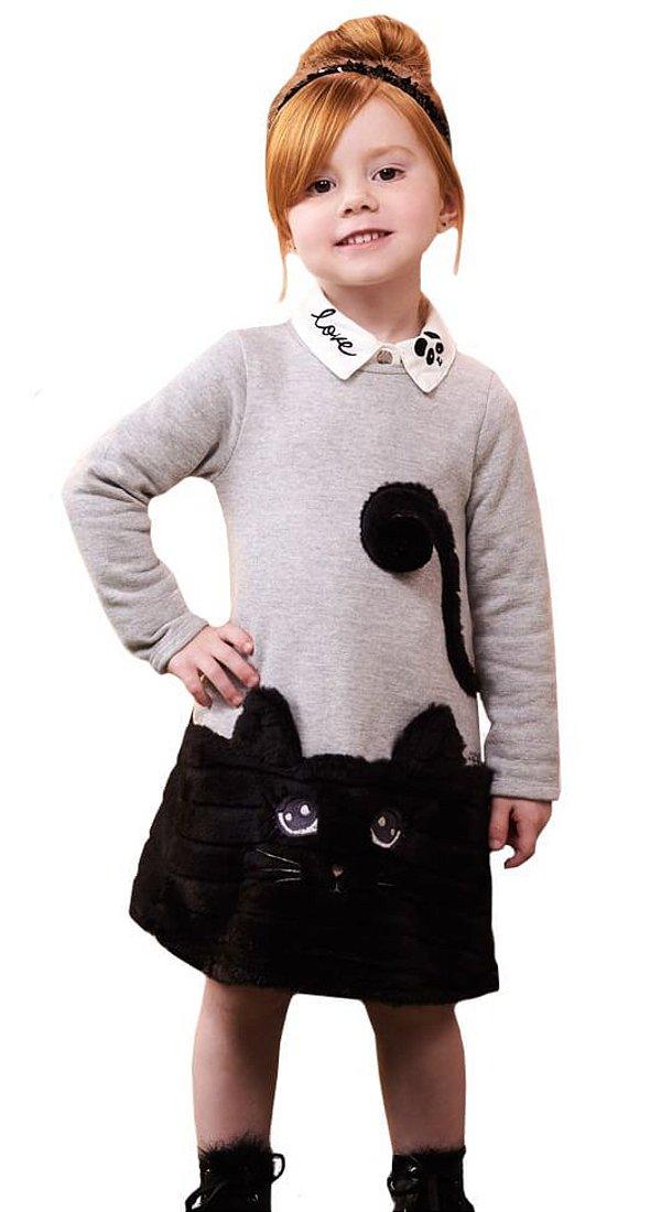 Vestido infantil momi moletom flanelado gatinha pelo