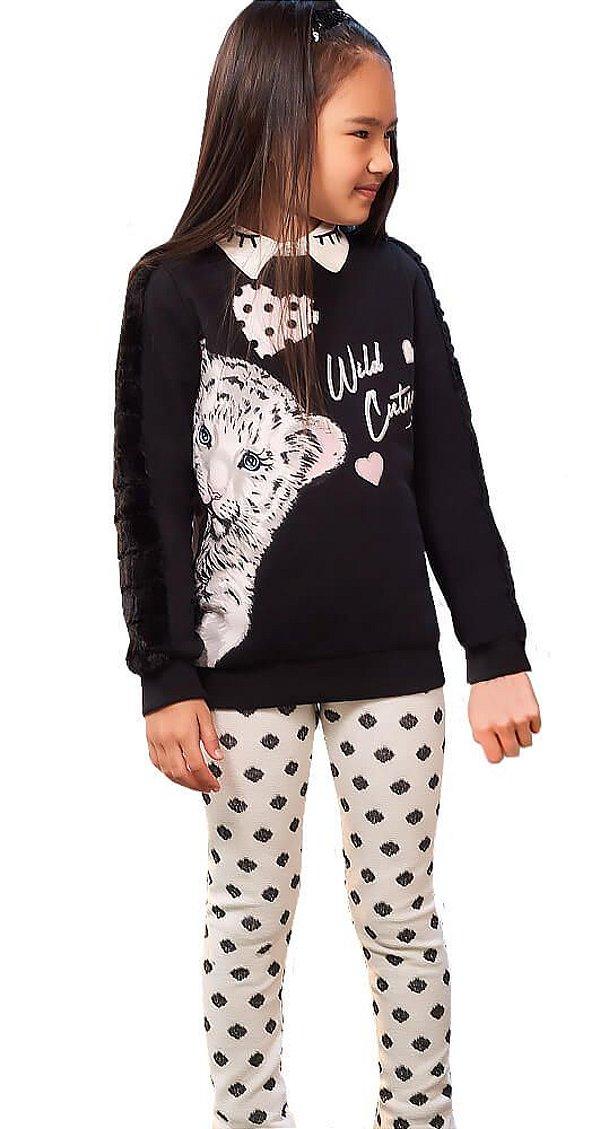 Conjunto infantil momi onça blusa de moletom com legging poá