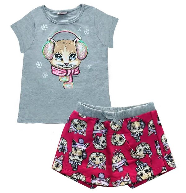 Conjunto infantil momi gatinha fone saia shorts moletom
