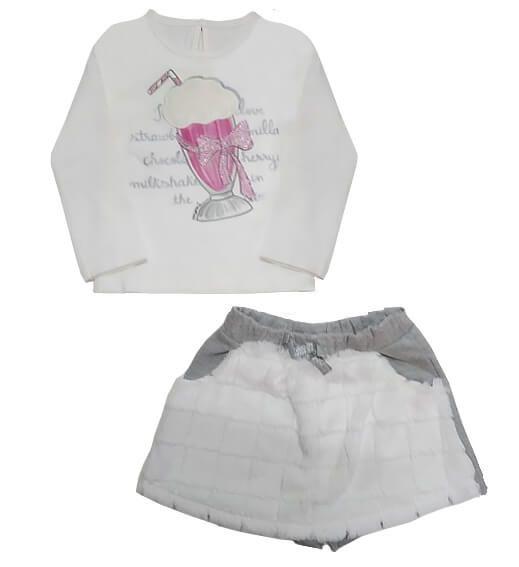 Conjunto infantil Momi milk shake com saia shorts de moletom