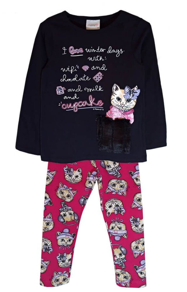 Conjunto infantil Momi gatinha bolso pelo com legging