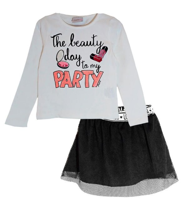 Conjunto infantil Momi beautiful day party com saia shorts