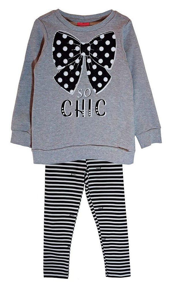 Conjunto infantil Momi blusa de moletom laço chic legging