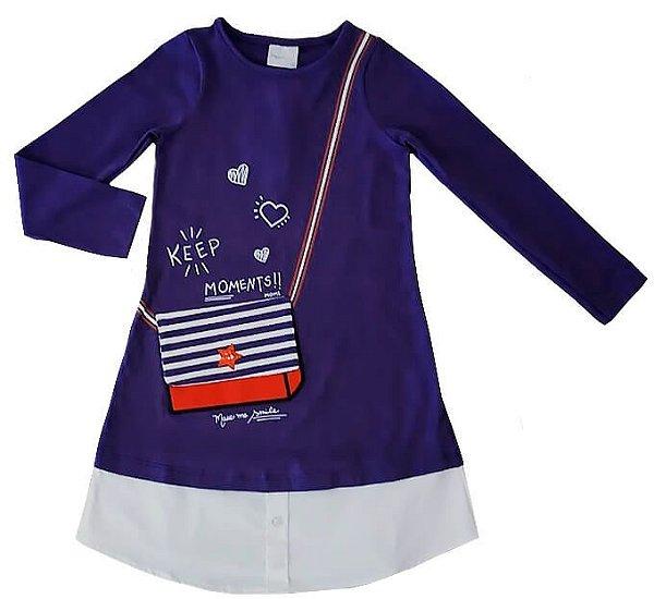 Vestido infantil momi bolsinha azul marinho