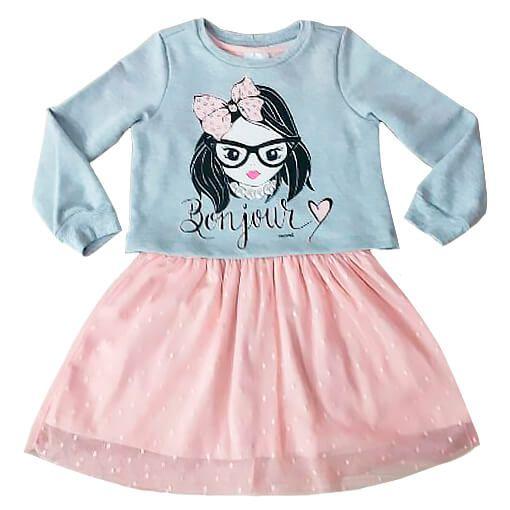 Vestido infantil Momi com blusa de moletom bonjour