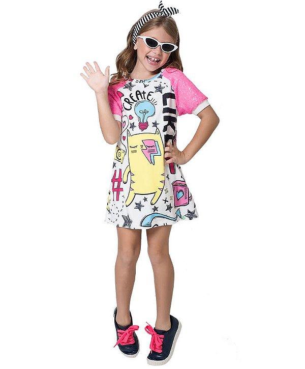 Vestido infantil Mylu mangas de paetê rosa Elementos