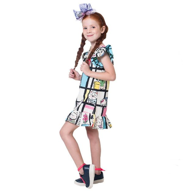 Vestido infantil Mylu Mondrian Cães e gatos