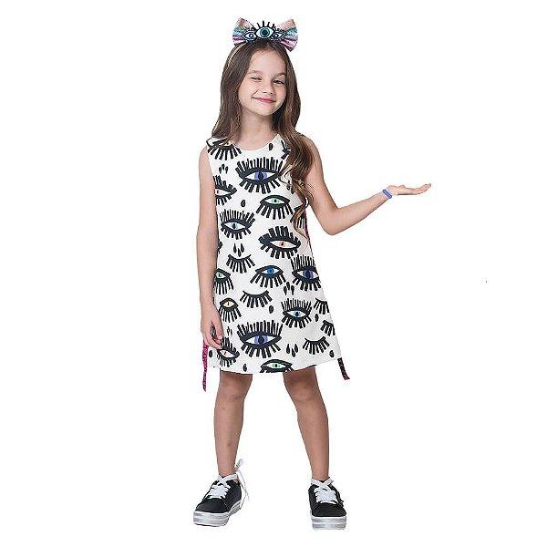 Vestido infantil Mylu Olhos Fita lateral galão