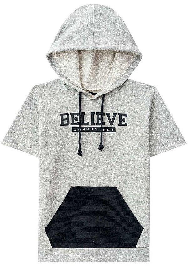 Blusa infantil johnny fox camiseta de moletom blusão cinza