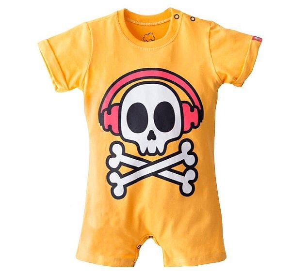 Macacão de bebê Baby beh rock soul caveira amarela unissex