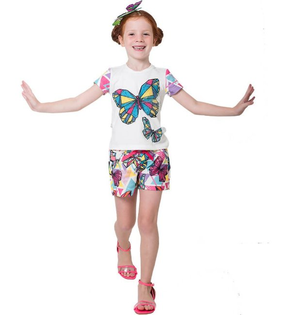Conjunto infantil Mylu Blusa com shorts moletom borboletas