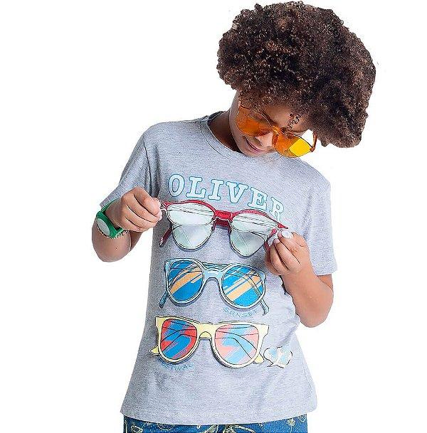 Camiseta infantil Oliver Jr. Óculos silk com aplicação