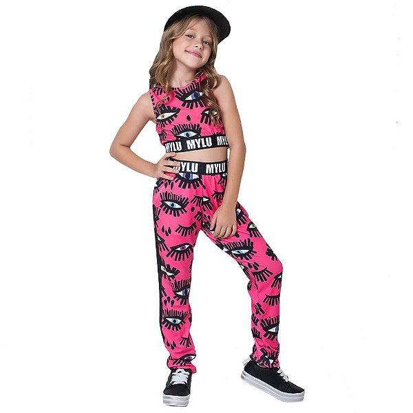Conjunto infantil Mylu Crooped com calça olhos pink