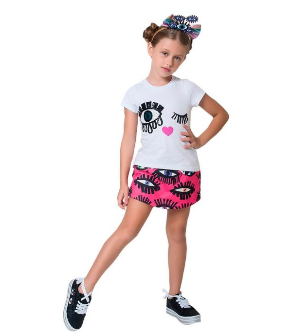 Conjunto infantil Mylu Blusa patch Olho shorts saia moletom