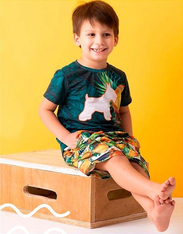 Conjunto infantil Oliver Jr. Camiseta  Bermuda cajú