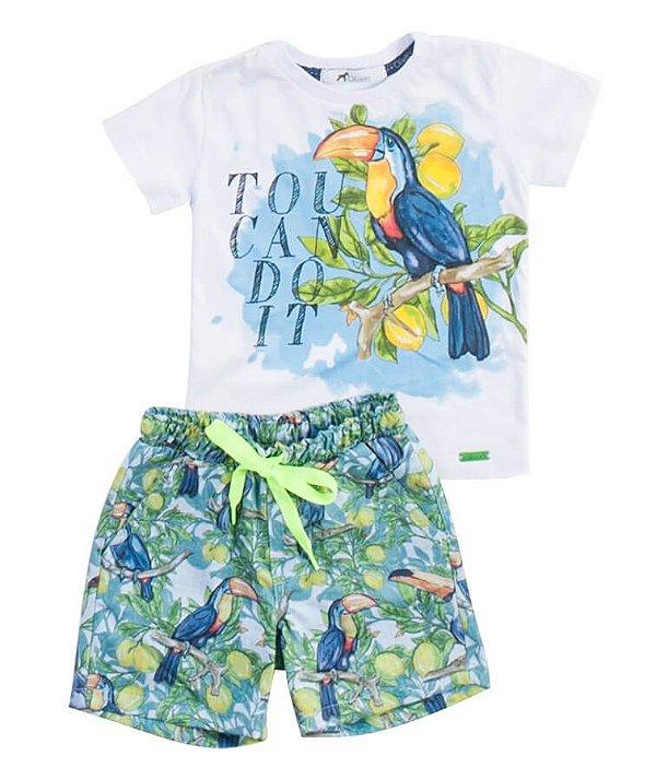 Conjunto infantil Oliver Jr. Camiseta  Bermuda Tucano Neon