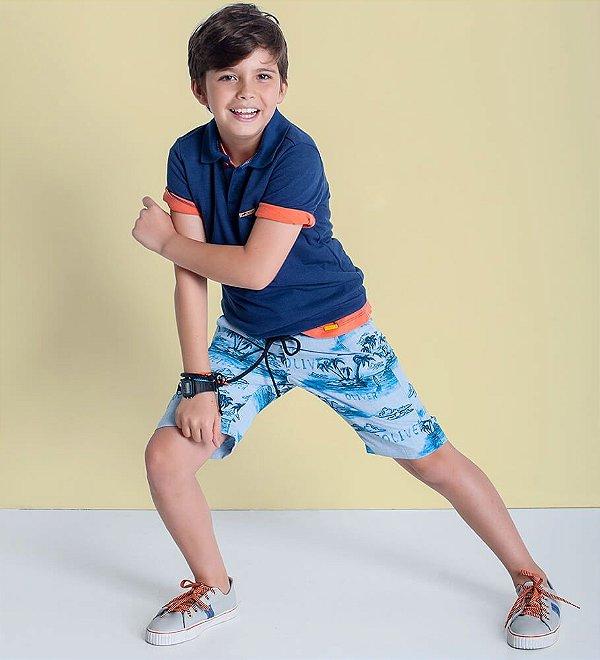 Bermuda infantil Oliver Jr. Coqueiros azul