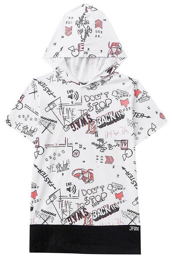 Camiseta Infantil Johnny Fox com capuz Branco Elementos