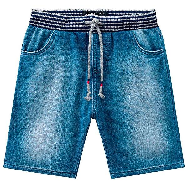 Bermuda infantil Johnny Fox Moletom imitando jeans Denim