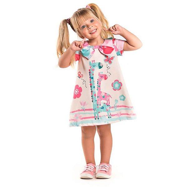 Vestido infantil Málagah Girafas laço