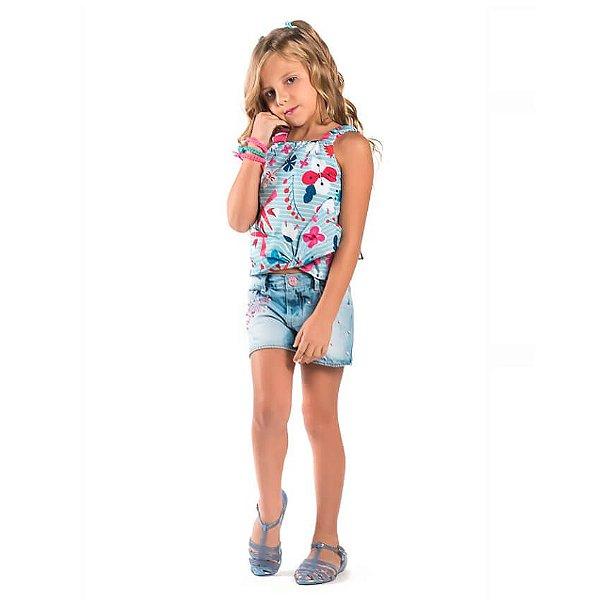 Conjunto infantil Malagah Blusa listras shorts jeans Love