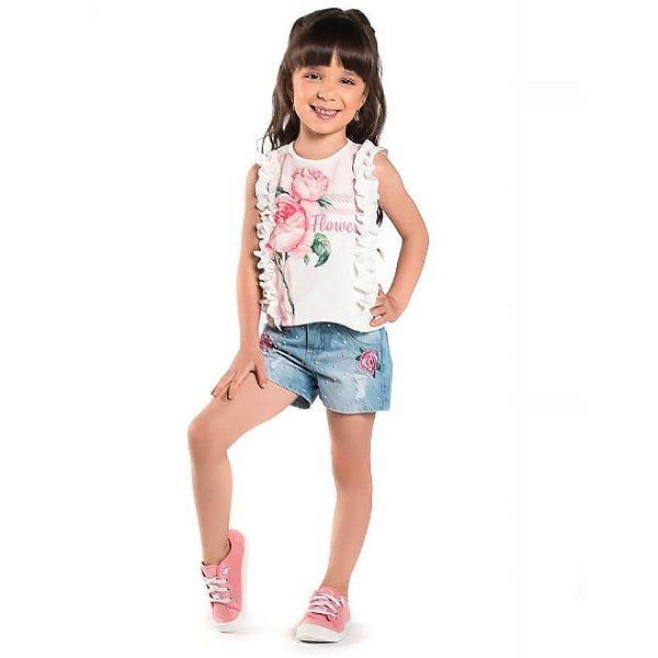 Conjunto infantil Malagah Blusa crepe shorts jeans Flores