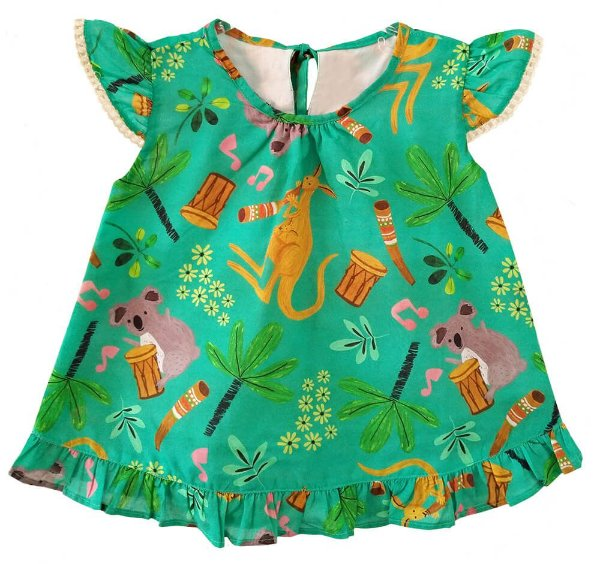 Vestido bebê Mundo céu música canguru e coala verde