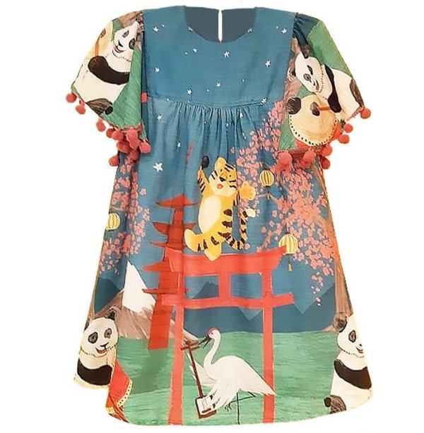 Vestido infantil Mundo céu panda tigre e grou azul oriental