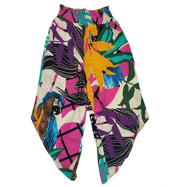 Calça infantil das meninas Caipuru folhas barra assimétrica