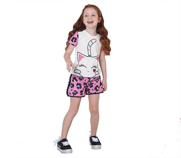 Conjunto infantil Mylu Gatinha shorts animal print