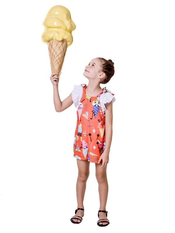 Macaquinho infantil Mylu Sorvete Laranja grátis blusa branca