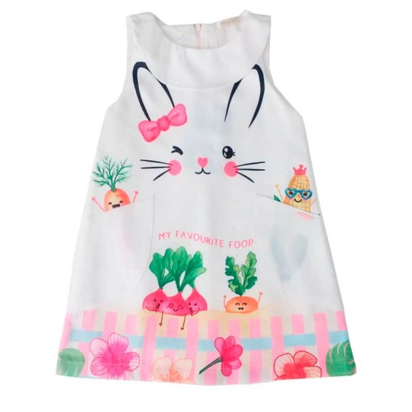 Vestido infantil Malagah coelho favourite food